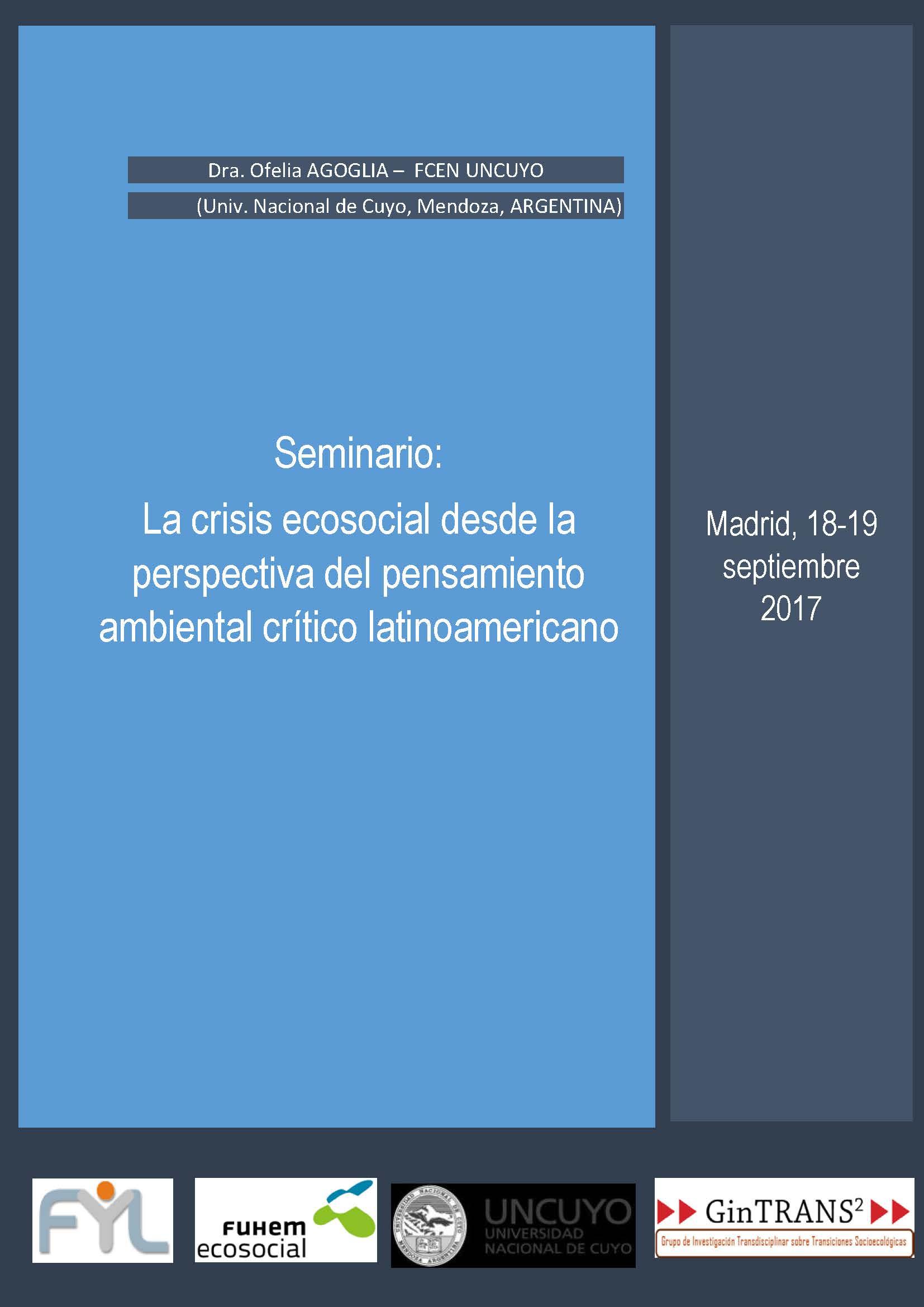 Seminario: La crisis ecosocial desde la perspectiva del pensamiento ...